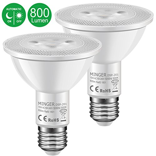 Outdoor Flood Lights Wont Turn Off: MINGER 10W Dusk To Dawn PAR30 LED Bulb Light, Auto Turn On